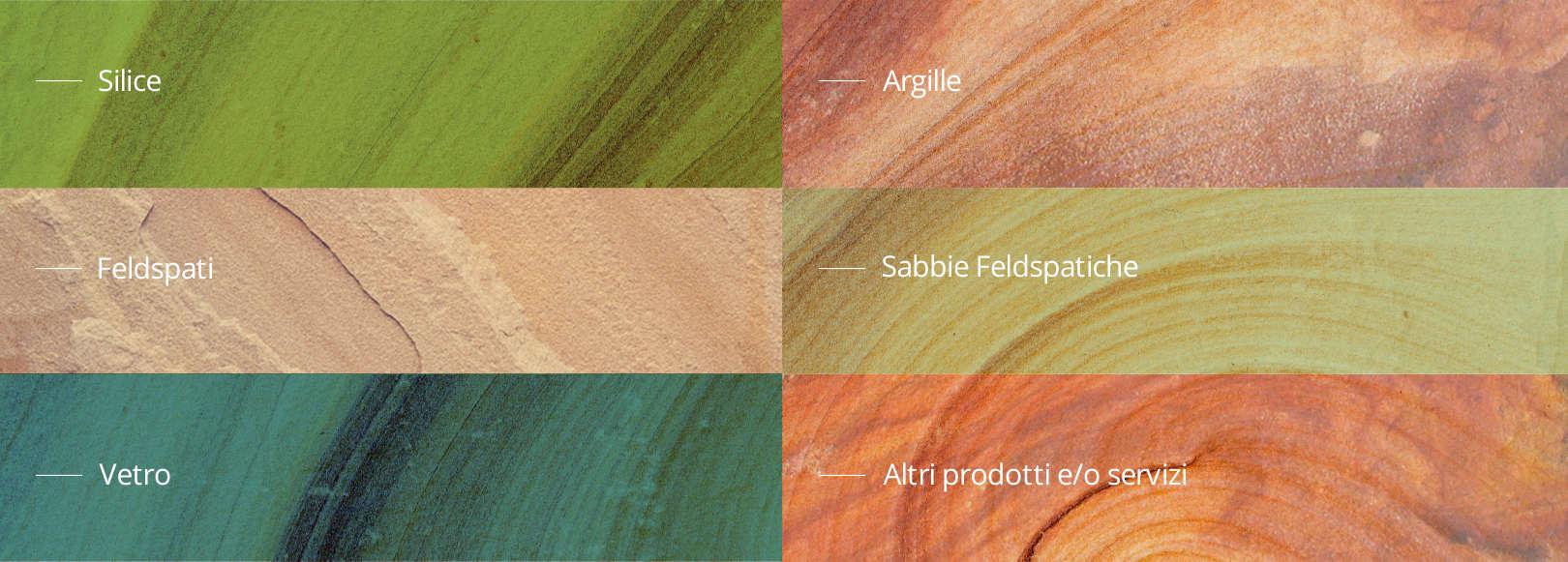 materie Prime Minerali industriali - silice, argille, feldspati, vetro, sabbie feldspatiche